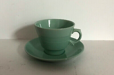 Wood's Ware Beryl Breakfast Cup and Saucer Green Woods Large Excellent Utility