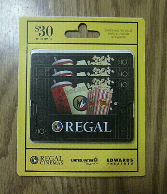 Regal Entertainment Movie Theaters Gift Cards $30.00
