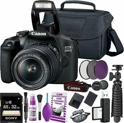 Canon EOS 2000D/Rebel T7 DSLR Camera + 18-55mm III Lens Starter Bundle 01