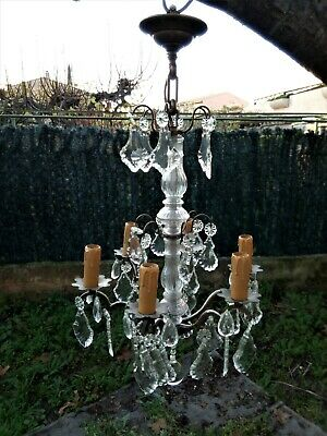 Antique Chandelier in Pampilles Bronze and Crystal