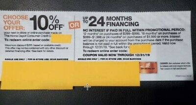 Home Depot 10% Off or 24 Months No Interest Coupon Online or In Store Exp. 12/31