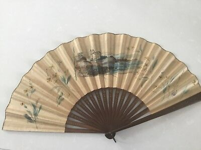 Antique Paper Painted Signed Hand Fan