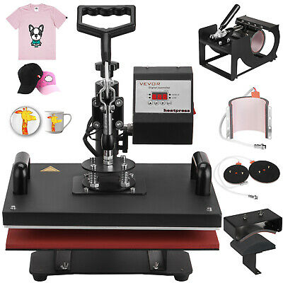 Heat Press Machine 6 in 1 Swing Away T-Shirt Mug Hat Cap Sublimation Transfer