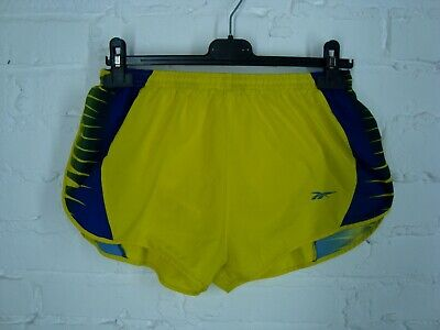Reebok Vintage Made USA Shinny High Cut Running Pacer Yellow Shorts Size M