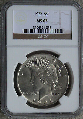 1923 Peace Silver Dollar Ngc Ms 63 - Free Shipping