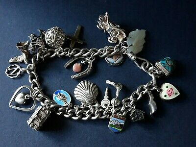 """Antique Victorian and Vintage Sterling Silver Full Charm Bracelet Chain. 8.5"""""""
