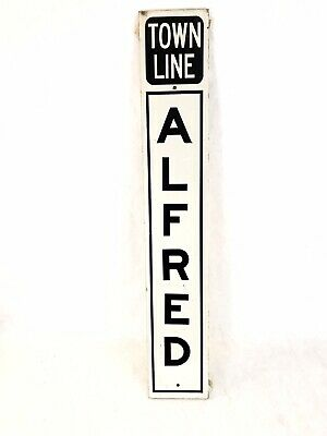 """Vintage Alfred Maine Town Line Road Sign Reflective 36"""" x 6"""""""