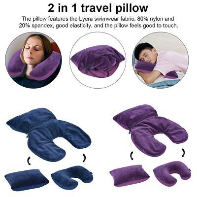 2In1 Inflatable Travel Pillow Air Planes Neck Support Face Cradle Pillow Cushion