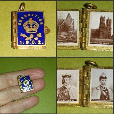 Antique King Edward 1902 Coronation Photo Book Gilt Enamel Pendant Fob Charm.