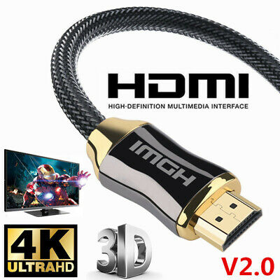 Premium HDMI Cable v2.0 Ultra HD 4K 2160p 1080p 3D High Speed Gold Plated Braid