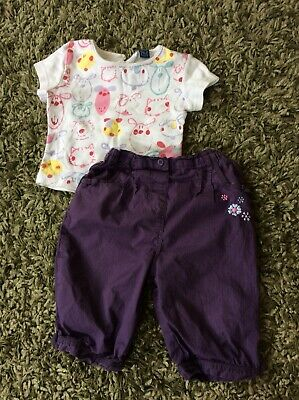 Girls Outfit Tshirt And Trousers Age 18mths-2years TU