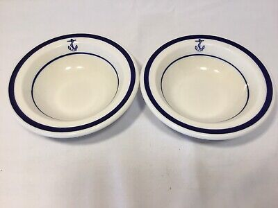 2 Homer Laughlin Navy Small Sauce Berry Bowl With Fouled Anchor Restaurant Ware