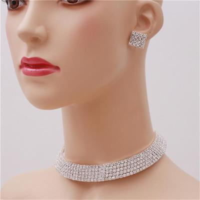 Female Full Crystal Rhinestone Chunky Choker Collar Necklace Party Jewelry LE