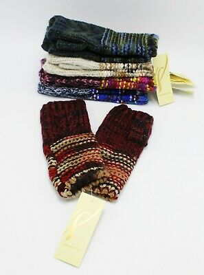 New Womens Mix Stitch Fingerless Gloves by Collection XIIX #FG28