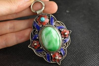 China handwork tibet-silver inlay old green jade stone Cloisonne Flower Pendant