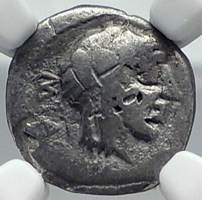 Roman Republic 89BC Ancient Rome Silver Coin CATO Moneyer VICTORY NGC i81843