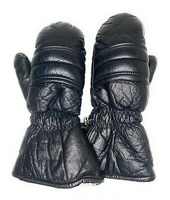 Women's Vintage Black Leather Conroy Mittens Faux Fur Lined