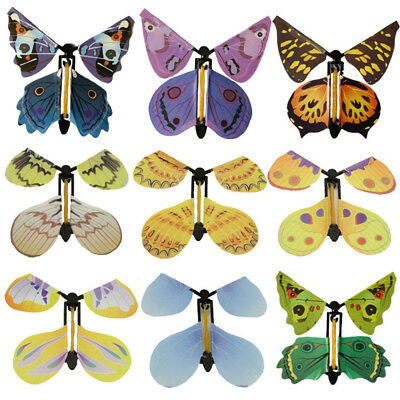 10pcs Card Magic Flying Plastic Butterfly Surprise Birthday Christmas P8PL own