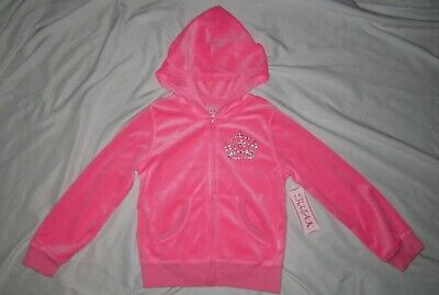 NWT Girls SWAK Hot Pink Full-Zip Princess Crown Velour Sweatshirt Hoodie- size 6