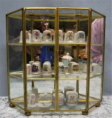 Vtg Brass & Clear Glass Display Curio Case Cabinet for Miniatures 13 Thimbles