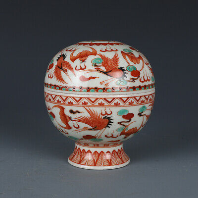 Chinese Old Marked Wucai Colored Bats Cranes Longevity Peaches Porcelain Lid Box