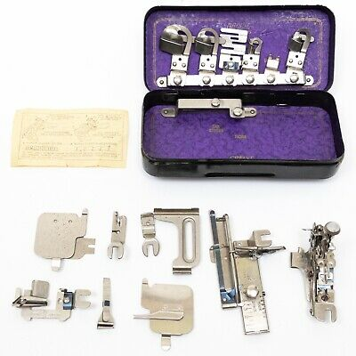 Vintage Greist Rotary Sewing Machine Attachments Orig Tin