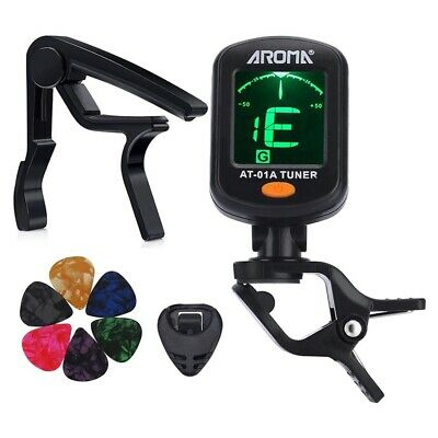 AROMA Tuner Clip on Chromatic Guitar Bass Violin Ukulele Include Guitar Cap Z3D4