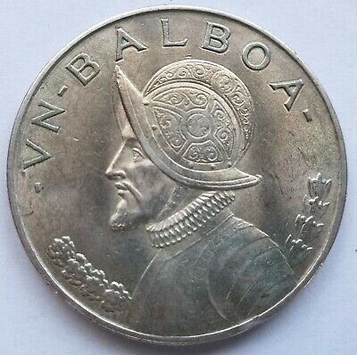 Panama 1 Balboa 1947 silver crown .7735 oz ASW portrait of Balboa