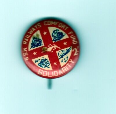 Australian- NSW Railways Comfort Fund 2/- Solidarity- tinny badge  approx.25mms