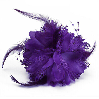 Women Flower Feather Brooch Fascinator Corsage For Wedding Ball Head Hair Clip
