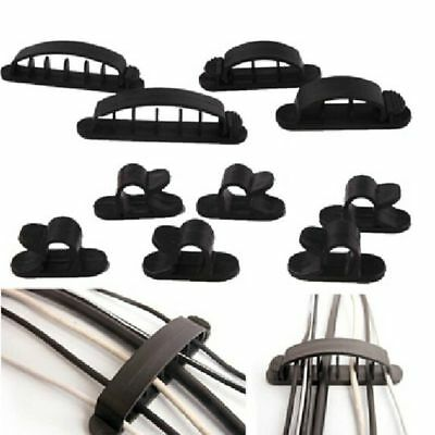 10pcs Car Wire Cord Cable Holder Tie Clips Fixer Organizer Adhesive Clamp 14 cVG