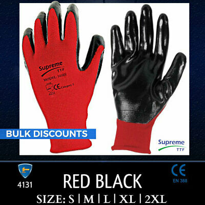 24 Pairs Red Black White Nitrile Coated Work Gloves Gardening Builders Industria