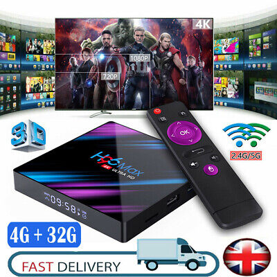 H96 Max Smart TV Box 4G+32G Android 9.0 WiFi Quad Core 1080p 4K Media Player UK