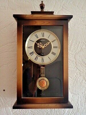 Seiko Antique Chiming Wall Clock With Pendulum