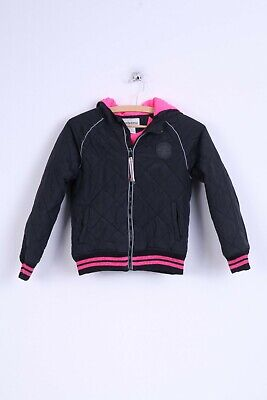 Converse Girls 140 10-12 age Jacket Black Hooded Zip Up Nylon Warm
