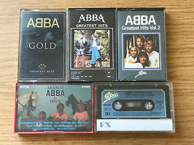 5 Abba Cassette Tapes GOLD, GREATEST HITS VOL1&2, SAULTE TO ABBA BY KRISTA.
