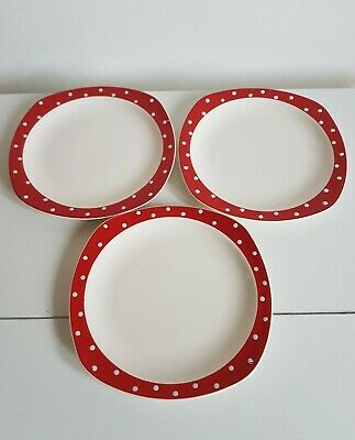 3 x  Midwinter Stylecraft Red Domino Salad Starter Plates - 7.5 Inches