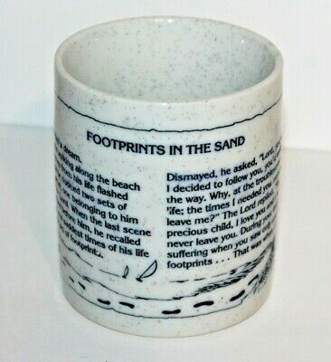 FOOTPRINTS IN THE SAND Coffee Cup,Embossed Verse/Design,White w/Blue Speckles