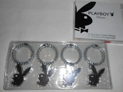 New Playboy  Home 12pc Shower Curtain Rings, Silver