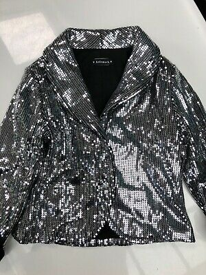 BNWOT Kate Mack Girls Sequinned Black Silver Jacket Age 5 years