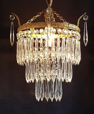 Large Vintage Brass & Crystal Glass Waterfall Chandelier Pendant Ceiling Light