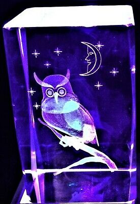 3D WATCHFUL NIGHT OWL MOON STARS HOOT CRYSTAL Laser+4 LIGHT BASE NEW GIFT BOXED