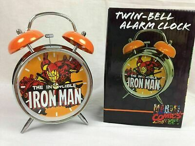 Invincible Iron Man Two Bell Alarm Clock Lighted Face Marvel Comics