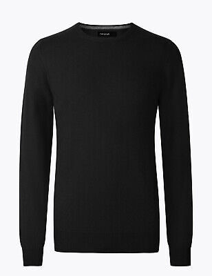 Marks And Spencer M&S Marks Pure Cashmere Crew Neck Jumper Black Xl Bnwt