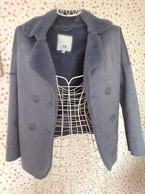 girls 5/6 river island fur lined, double breasted coatigan fab condition