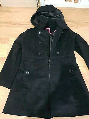 Girls Next Black Dressy Coat With Hood 11-12 Years