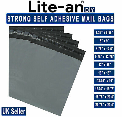 Grey Mailing Bags Plastic Mail Post Postage Polythene Strong Self Seal