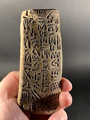 Ancient Near Eastern Triangular Clay Tablet- Early Form Of Writing Circa. 2000Bc