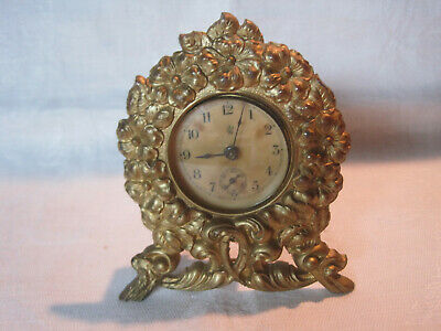 Antique Victorian Waterbury gilt metal shelf table clock, working