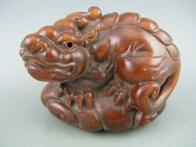 Antique Old Chinese Boxwood Hand Carved Dragon Statue Collectible